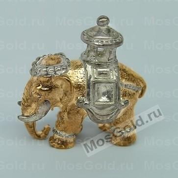 Кулон слон из жёлтого золота