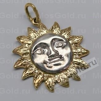 Кулон солнце из жёлтого золота