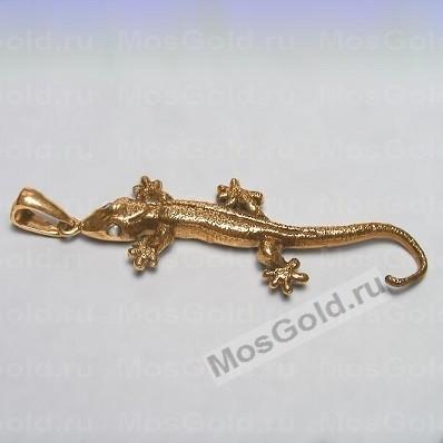 Кулон с ящерицей из красного золота