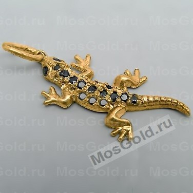 Кулон ящерица из жёлтого золота с бриллиантами