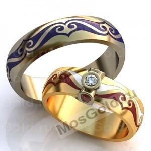 Кольца с эмалью