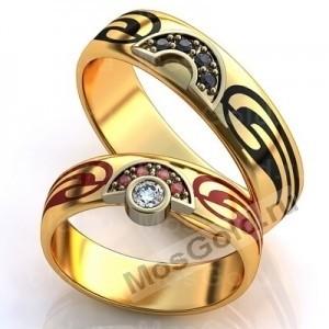 Кольца с эмалью и бриллиантом