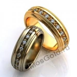 Золотые обручальные кольца с бриллиантовой дорожкой