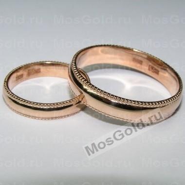 Обручальные кольца с шариками из красного золота