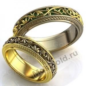 Кольца с эмалью и узором