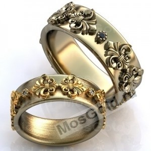 Обручальные кольца с накладками из вензелей