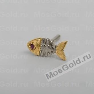 Серьги-гвоздики в виде рыбки