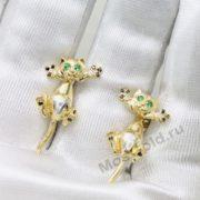 Золотые серьги в виде кошек