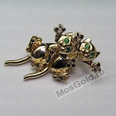ювелирная мастерская: Золотые серьги в виде кошек