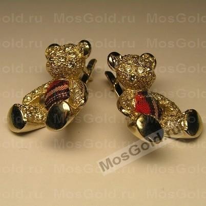 Золотые серьги мишки с бриллиантами
