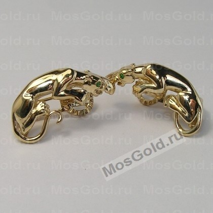 Серьги пантеры из жёлтого золота