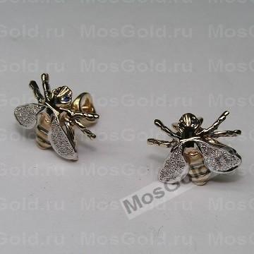 Золотые серьги пчёлки