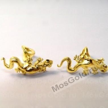 Серьги-гвоздики ящерица