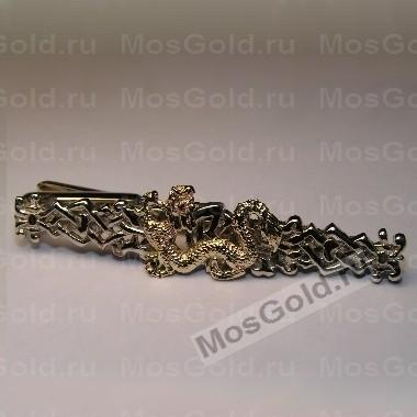 Золотой зажим для галстука дракон