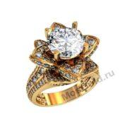 Эксклюзивное кольцо с цветком
