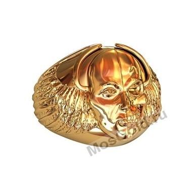 Кольцо с лицом человека и черепом