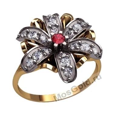 Женское кольцо с большим цветком