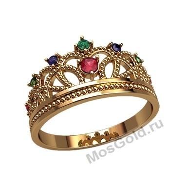 Женское кольцо корона с камнями