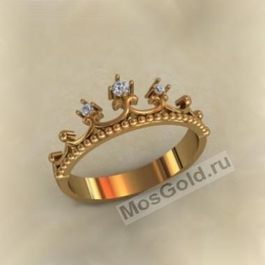 Женское кольцо корона с бриллиантами