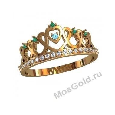 Кольцо корона с изумрудами и бриллиантами