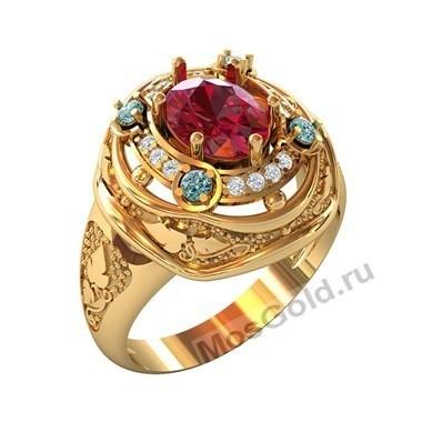 Женское кольцо с большим гранатом