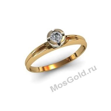Кольцо из жёлтого золота с круглым бриллиантом
