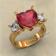 кольцо камень сердце