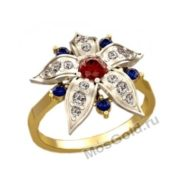 Кольцо цветок усыпан бриллиантами