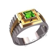 Мужское кольцо с хризолитом