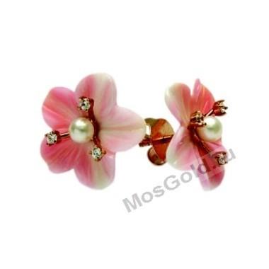 Серьги с розовыми цветами