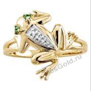 золотое кольцо лягушка с изумрудом