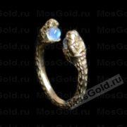 кольцо змея с камнем