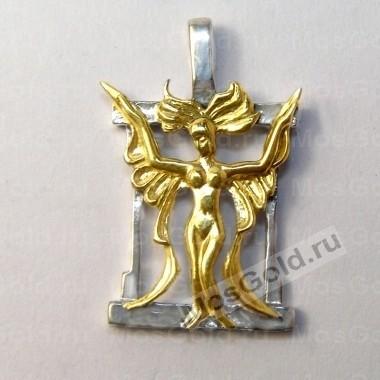 Золотой кулон знак зодиака Дева