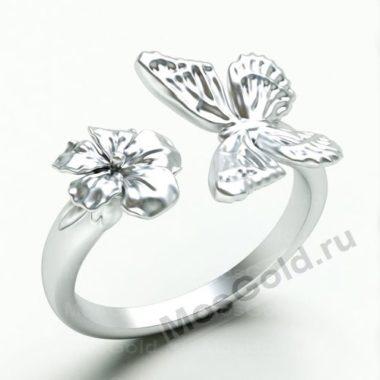 Кольцо с бабочкой и цветком