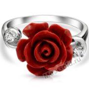Кольцо из белого золота с розой