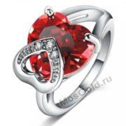 Кольцо сердце красный камень