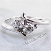 Кольцо с розой и бриллиантами