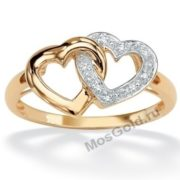 Золотое кольцо с двойным сердцем