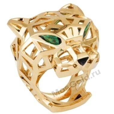 Золотое кольцо тигр Картье