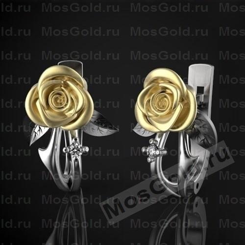 Серьги с красивыми розами