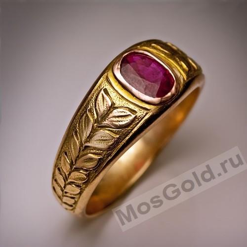 ювелирная мастерская: Антикварный перстень мужской с рубином