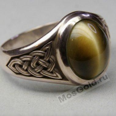 Перстень с камнем кошачий глаз