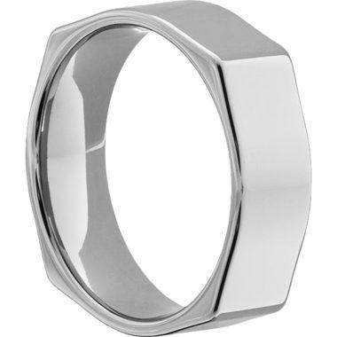 Мужское квадратное кольцо белое золото