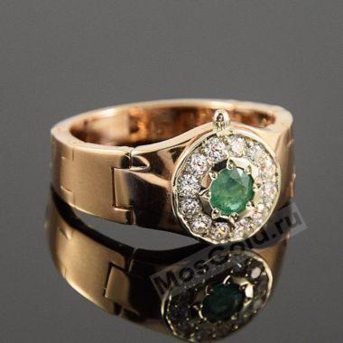Перстень часы мужские с изумрудом