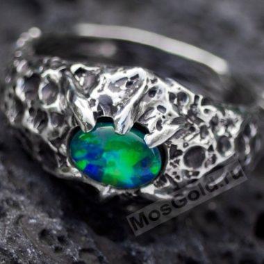 Кольцо с опалом лава
