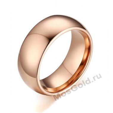 Кольцо розовое золото мужское закругленные края