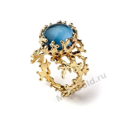 Кольцо золотое женское с топазом