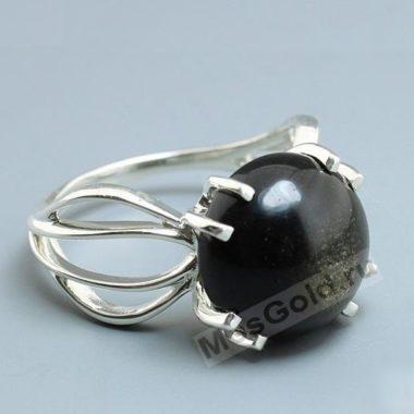 Кольцо с обсидианом женское