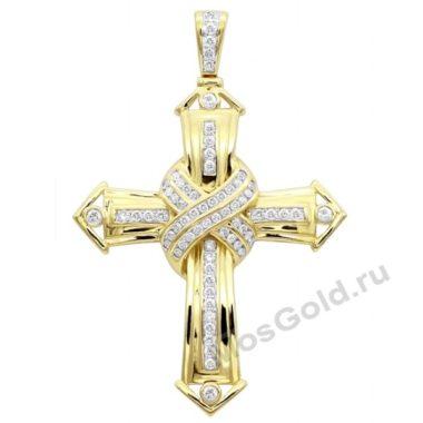 Золотой крест с бриллиантом для мужчин