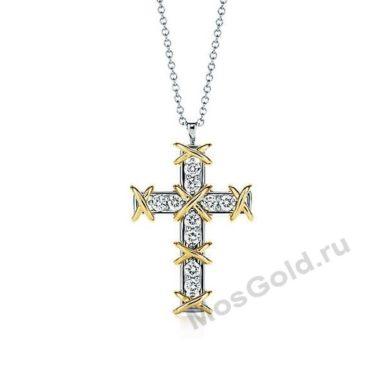 Крестик с бриллиантами из белого золота Тиффани